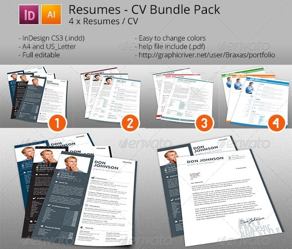 Awesome resumecv templates 56pixels 4x resume cv bundle pack yelopaper Images