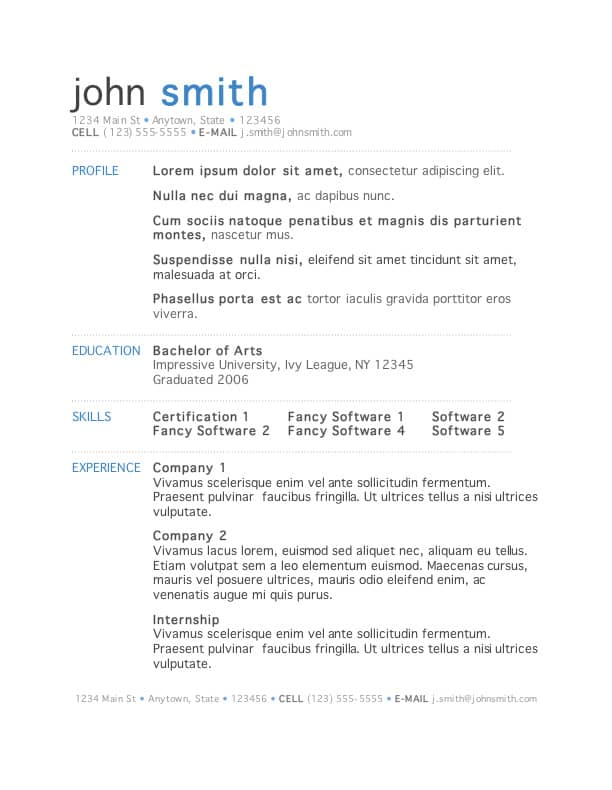 resume template 1 free download - Free Cv Templates On Word