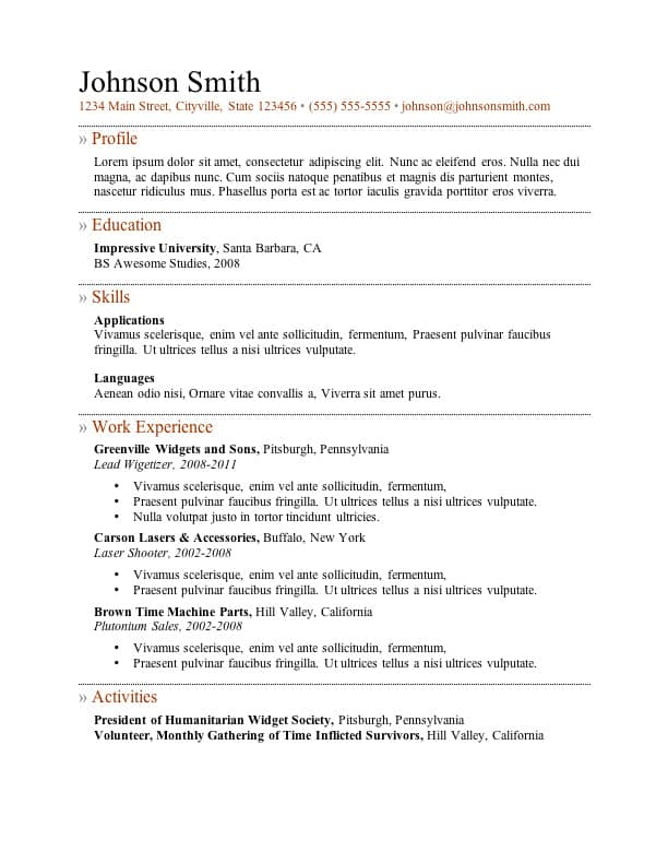 resume template 5 - Template Of A Resume