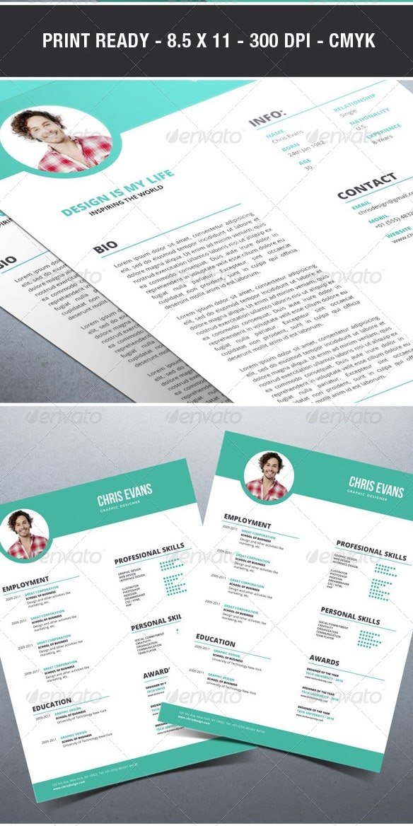 clean modern resume / cv with cover letter - Resume/CV Templates
