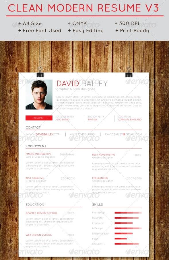 clean modern resume v3 - Resume/CV Templates