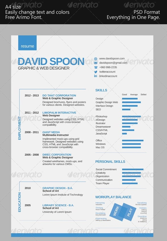 Clean One Page Resume Templates  Cover Page For Resume Template