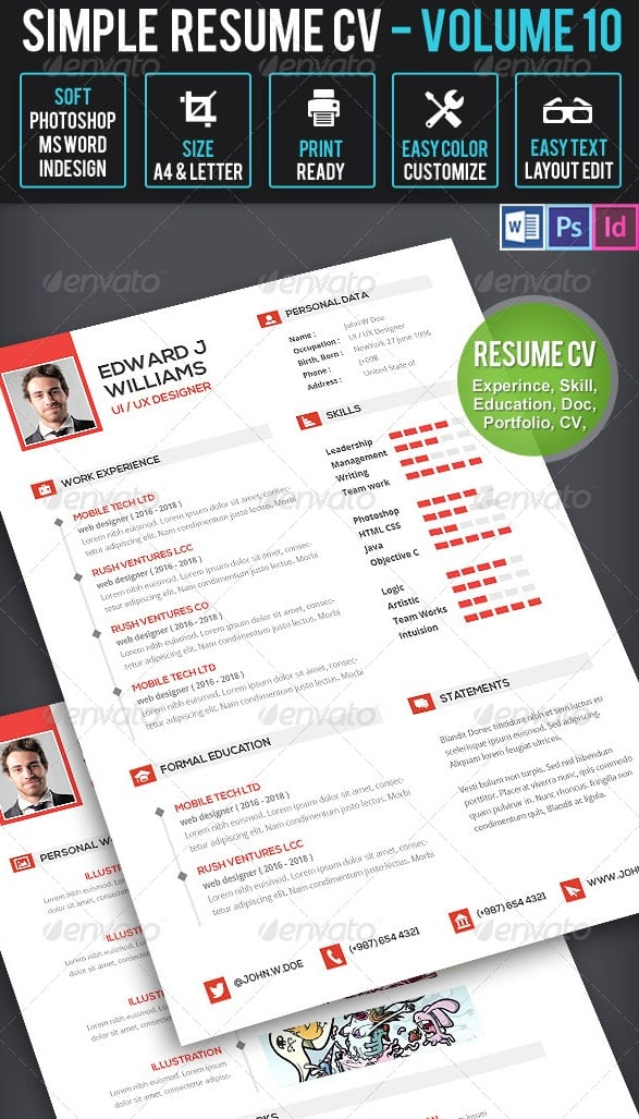 clean resume cv volume 10 - Resume/CV Templates