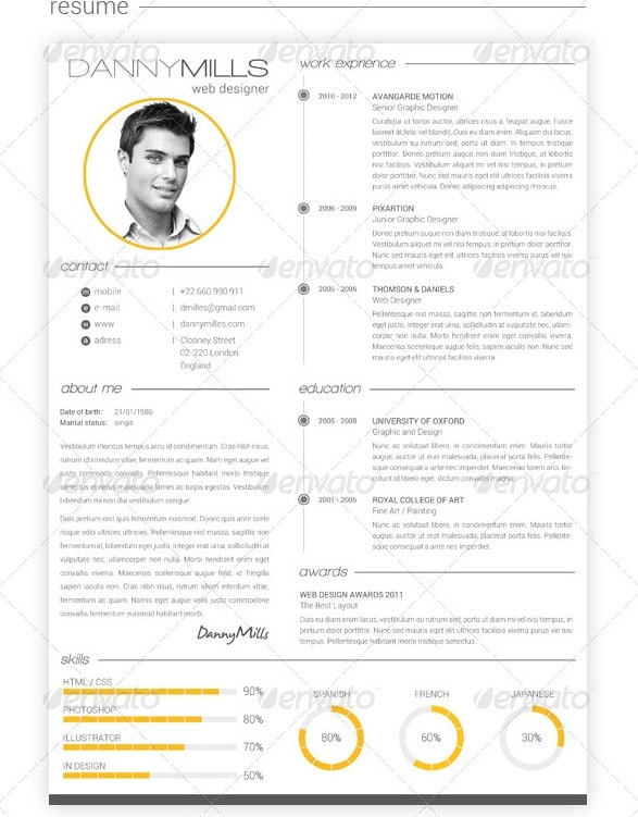 awesome resume cv templates. Black Bedroom Furniture Sets. Home Design Ideas