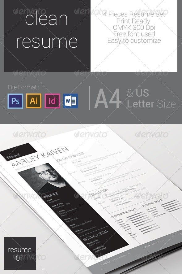 Awesome resumecv templates 56pixels clean resume set yelopaper Images