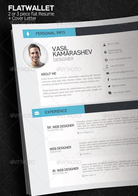 flatwallet - 2 or 3 piece resume + cover letter - Resume/CV Templates