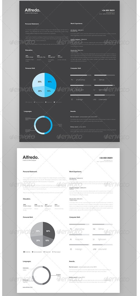 Awesome Resume/CV Templates - 56pixels.com