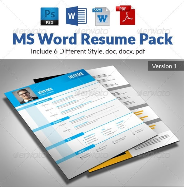 ms word resume pack