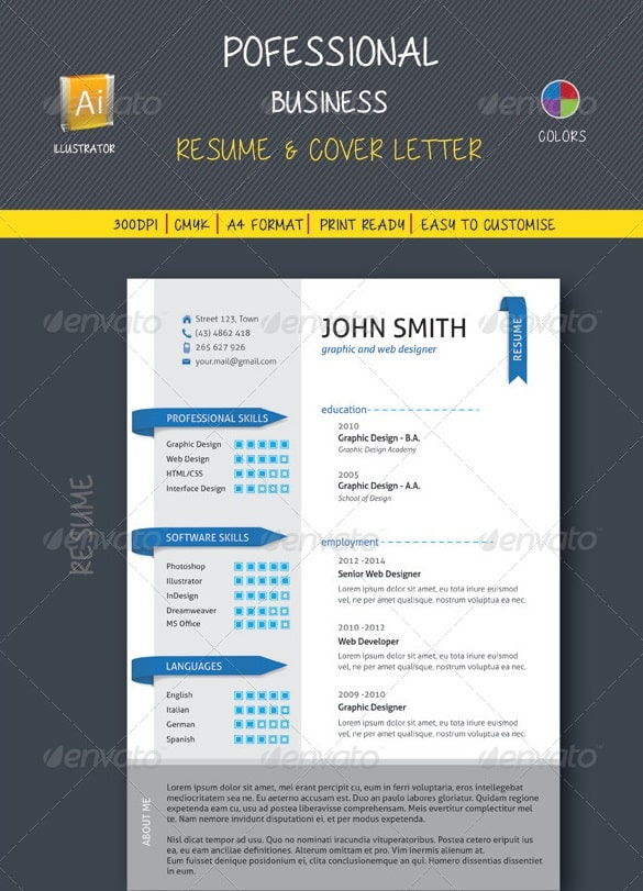 professional business resume and cover letter - Resume/CV Templates