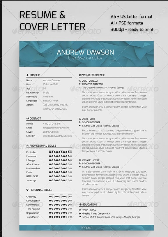 awesome resume  cv templates