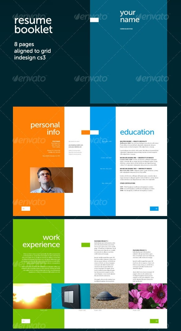Awesome resumecv templates 56pixels resume booklet 8 pages yelopaper Images