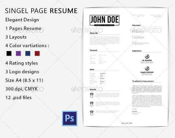 A4 Size 6. Easy To Use 7. All Text Editable With Text Tools 8. Easy To  Customize 9. All Free Fonts Used 10. Help File Included  Resume Text Size