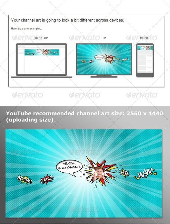 youtube one channel comics style template