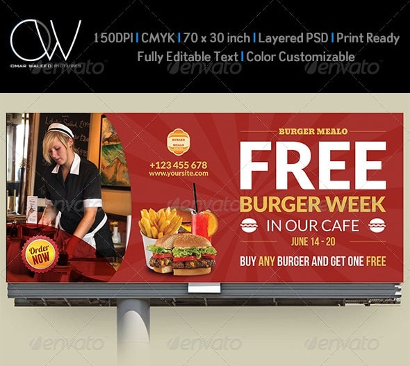 burger restaurant billboard template vol.4