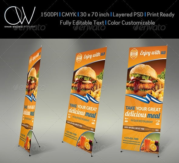 burger restaurant roll-up - signage template vol4