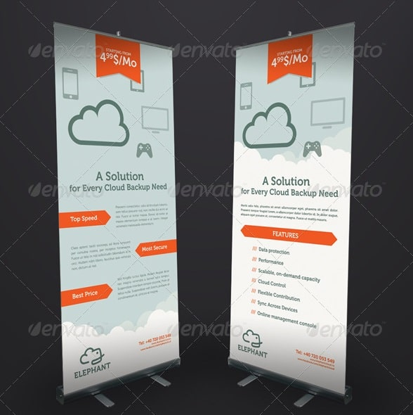 elephant cloud roll-up banner