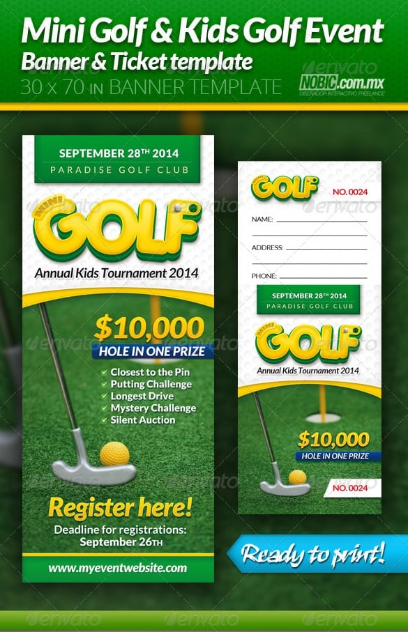 mini golf and kids golf event banner and ticket