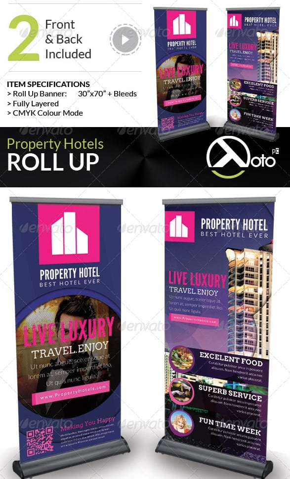 property hotel roll up banners