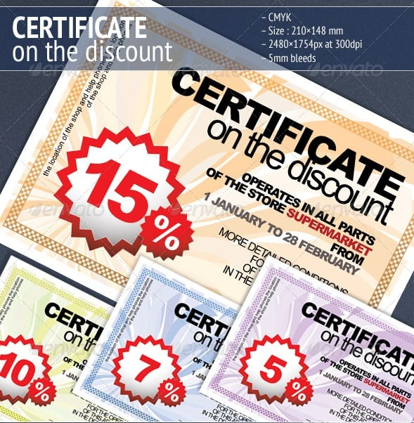 certificate on the discount