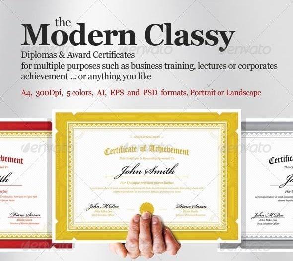 modern classy diploma award certificate