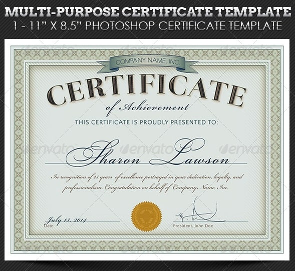 Certificate templates free psd download for Certificate of appreciation template psd free download