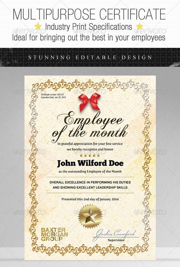 Certificate templates free psd download for Employee of the month certificate template free download