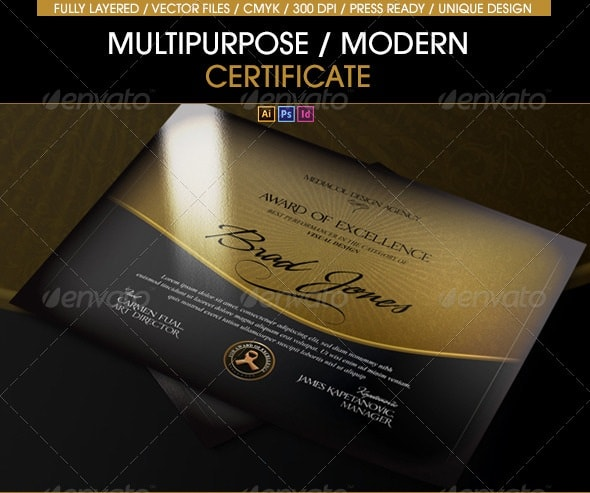 multipurpose modern certificate (all formats)