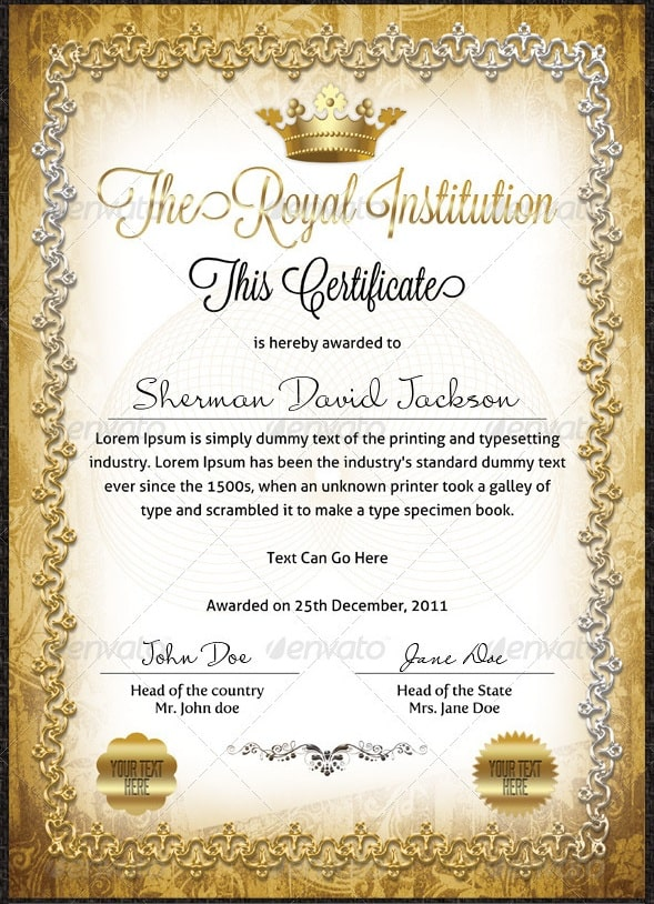 Free and premium certificate template 56pixels royal certificates yadclub Gallery