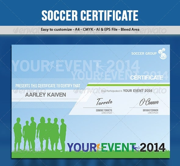 soccer / football certificate