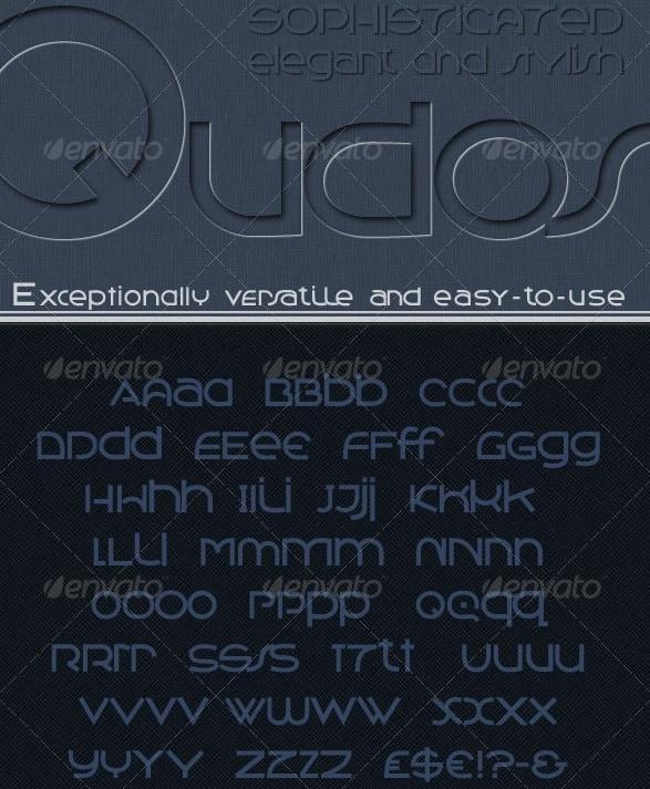 qudos: clean & modern, avant garde type