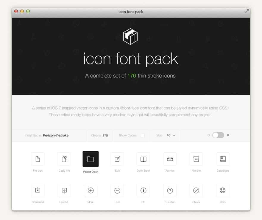 stroke 7 icon free font set