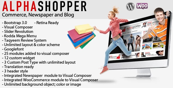 alphashopper - clean newspaper and woocommerce wp