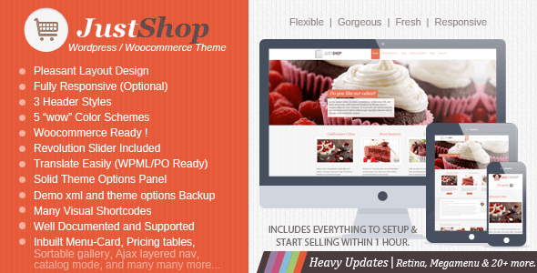 justshop cake - bakery restaurant wordpress theme