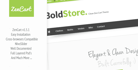 boldstore - clean zen cart template