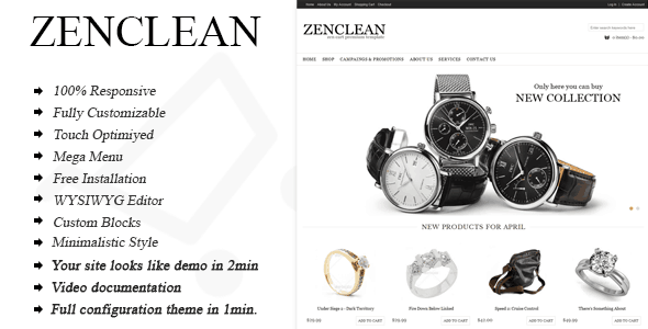 zenclean - responsive multi-purpose zen cart theme