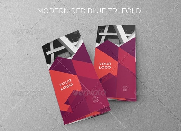 modern red blue trifold
