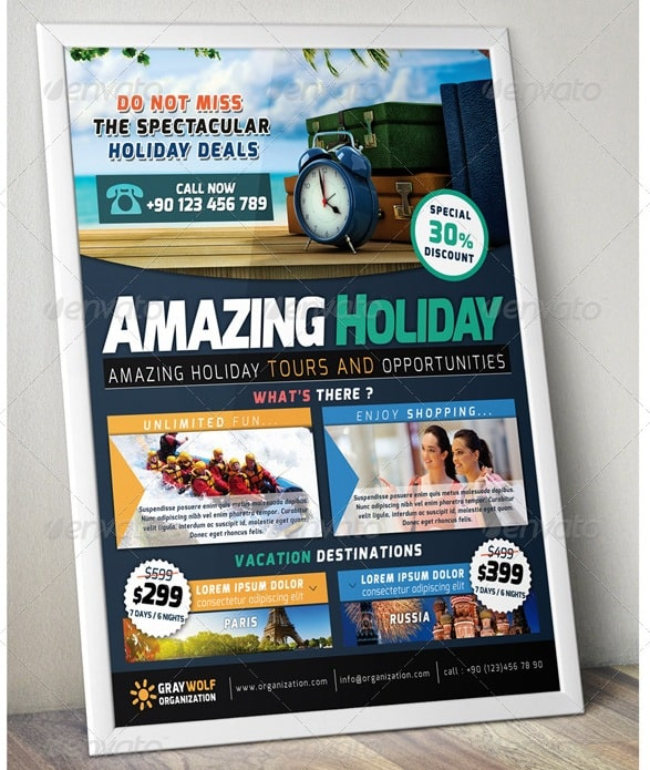 travel & tour trifold brochure and flyer
